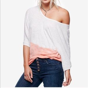 We The Free Linen 3/4 Length Sleeve Ombré Top